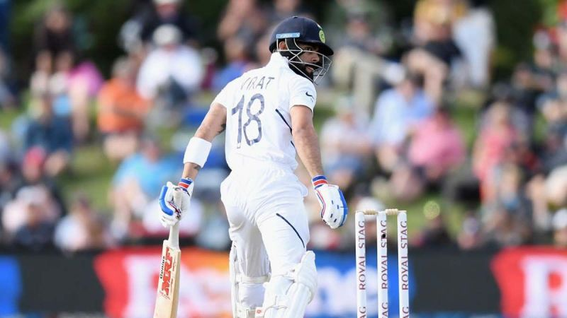 Virat Kohli in action against New Zealand in the first Test in Wellington