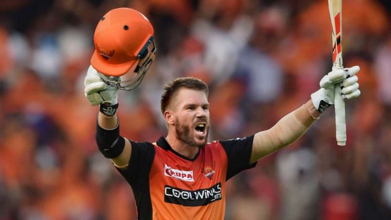 David Warner celebrating his breathtaking hundred against RCB in IPL 2019