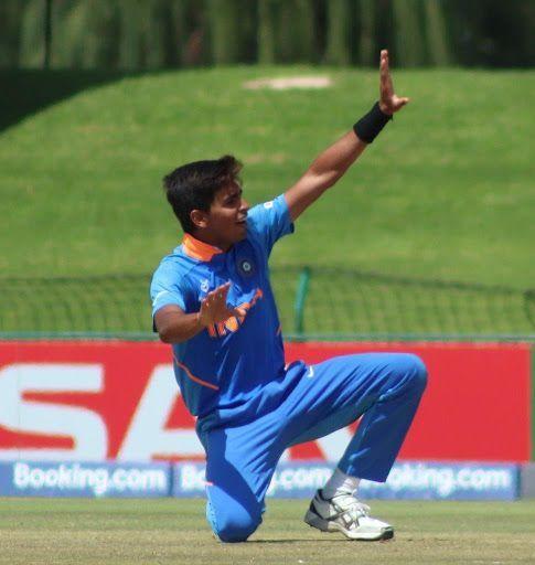 Kartik Tyagi celebrating a wicket