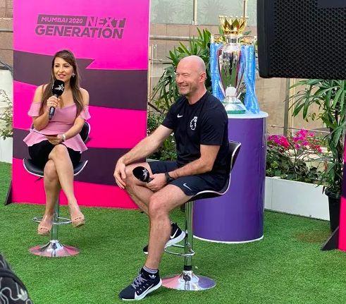 Premier League Legend and Ambassador – Alan Shearer and ISL Presenter – Khuri Irani during the fan engagement activation
