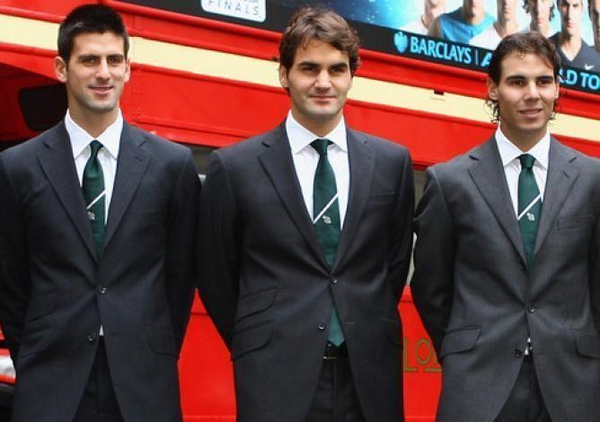 Novak Djokovic, Roger Federer, Rafael and Nadal (from left to right)