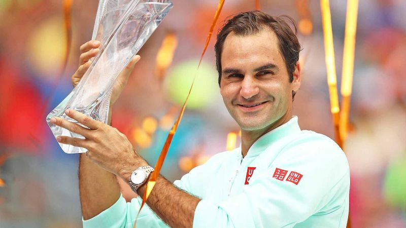 Federer celebrates his 28th Masters 1000 title at 2019 Miami.