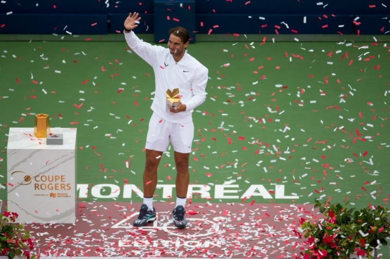 Nadal celebrates his 2019 Coupe Rogers title.
