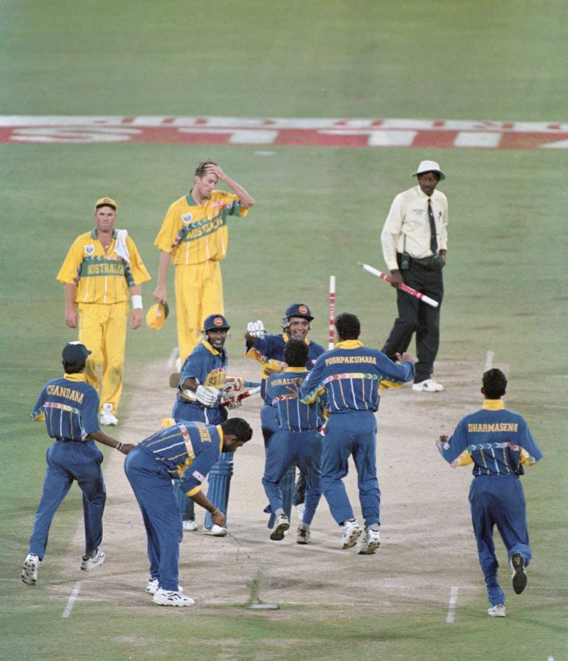 Sri Lanka celebrate winning the 1996 Cricket World Cup Final