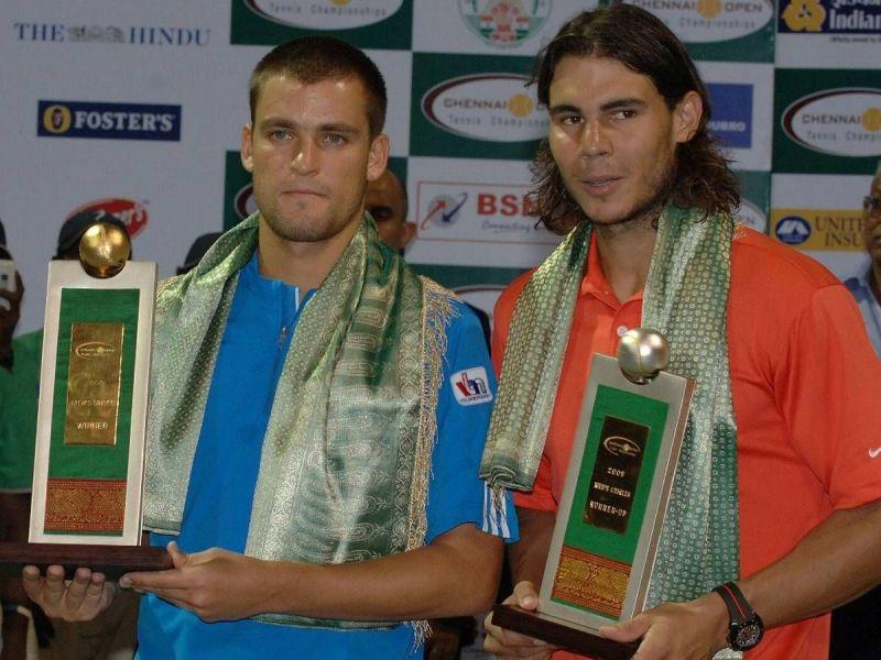 Mikhail Youzhny (left) beat Nadal to win the 2008 Chennai Open title.