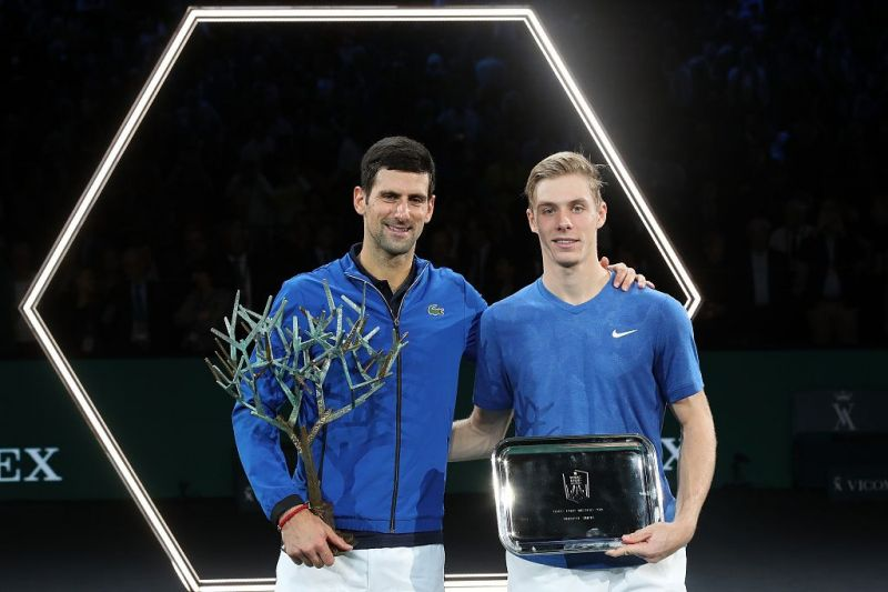 In his first Masters 1000 final at 2019 Paris-Bercy, Denis Shapovalov (right) lost to Novak Djokovic.