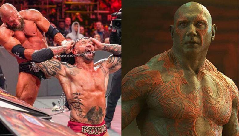 Batista in WWE (left), Batista as Drax (right)