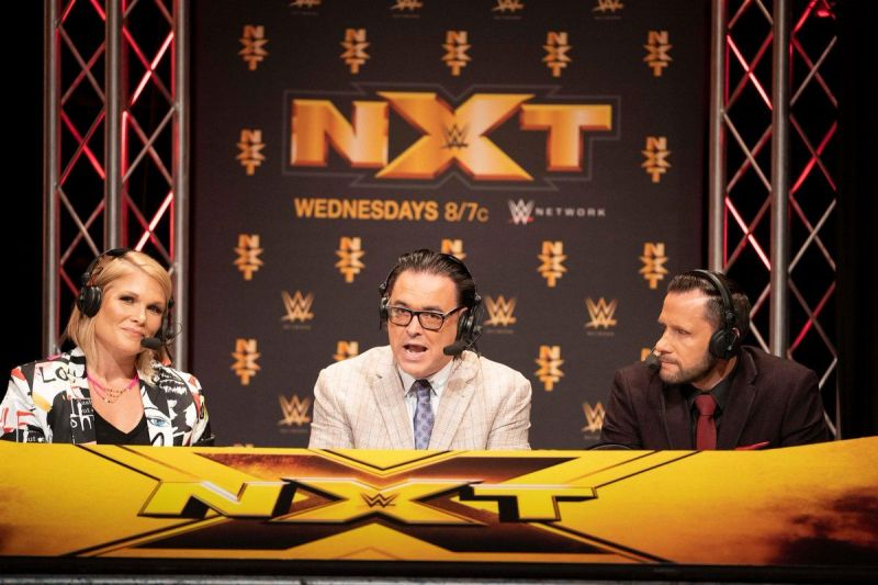 The NXT commentary panel consisting of Beth Phoenix, Mauro Ranallo, and Nigel McGuiness