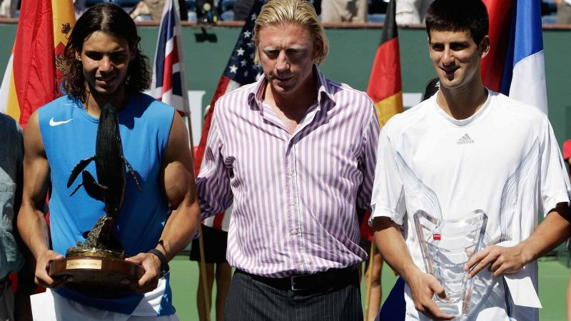 Nadal (left) lifts his first Indian Wells title in 2007.