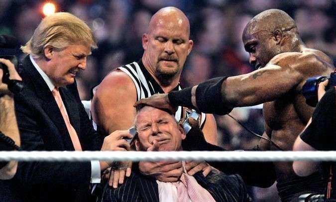Bobby Lashley, Donald Trump, and Stone Cold Steve Austin shave Vince McMahon