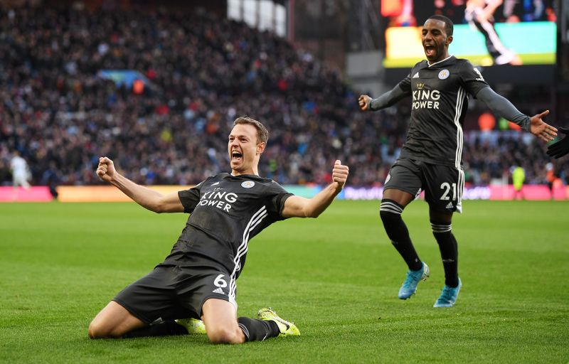 Jonny Evans celebrating after his goal at Villa Park earlier this season