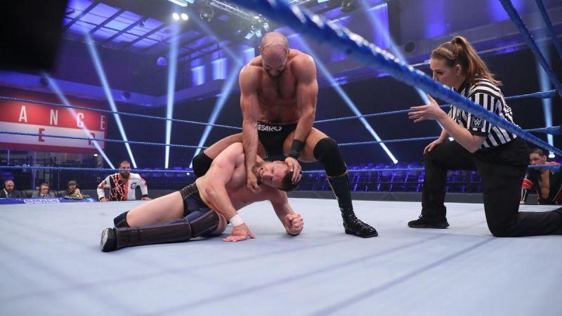 Cesaro wrestling with Daniel Bryan