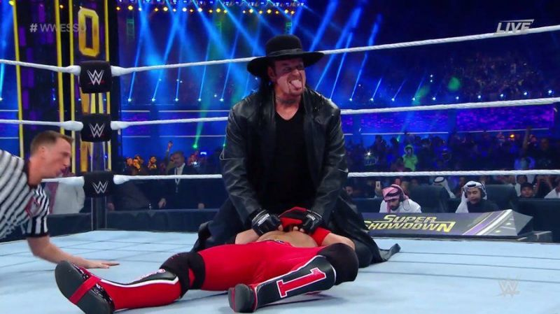 The Undertaker making quick work of AJ Styles at Super ShowDown 2020