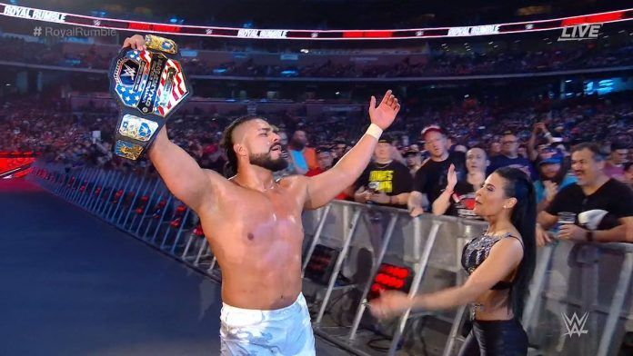 The current US Champion, Andrade, with his business manager Zelina Vega
