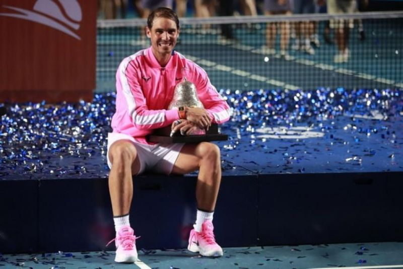 Nadal celebrates his first title of the 2020 season at Acapulco.