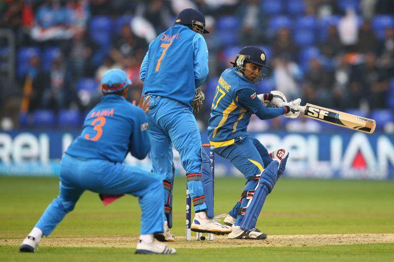 Mahela Jayawardena in action against India