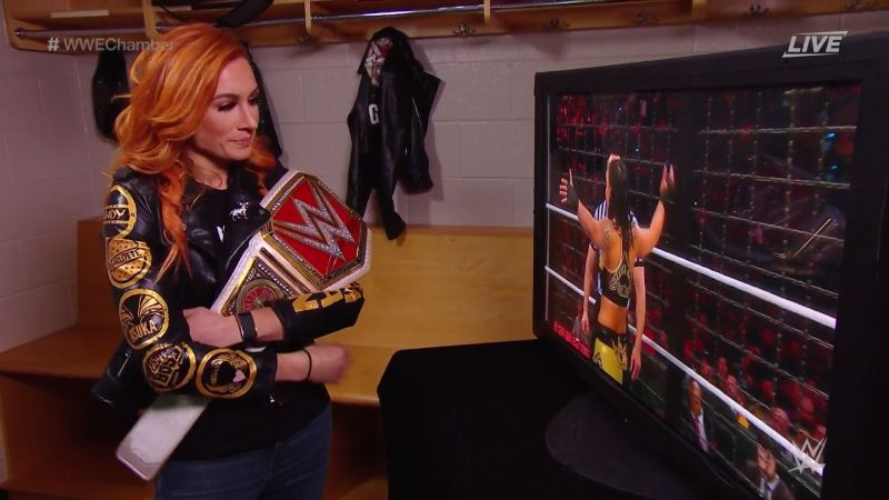Becky Lynch watches on as her WrestleMania 36 opponent is revealed