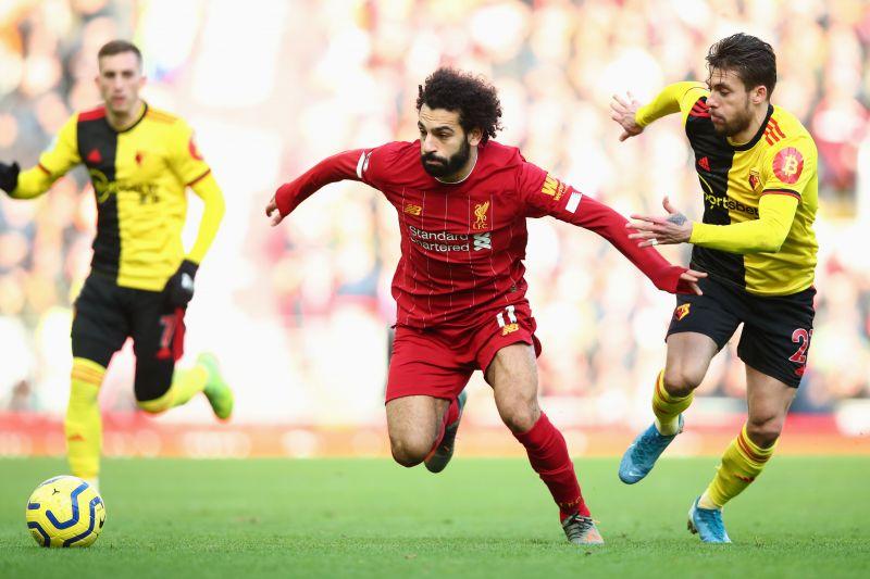 Salah in action against Watford