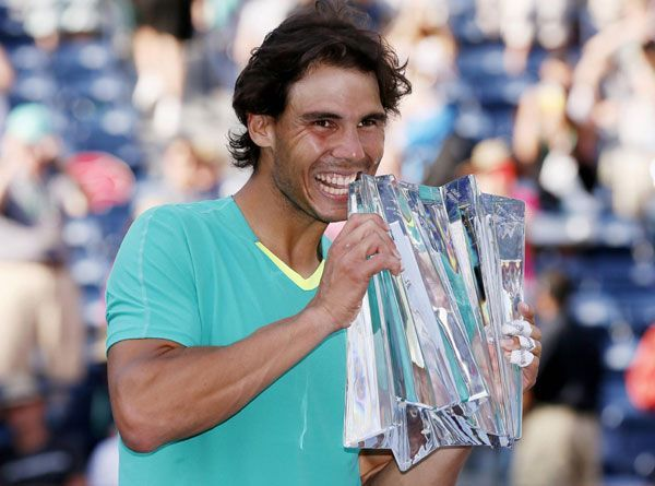 Nadal celebrates his 3rd Indian Wells title in 2013.