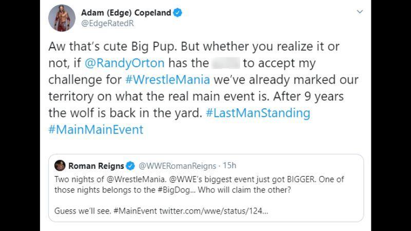 Edge responded to Roman Reigns
