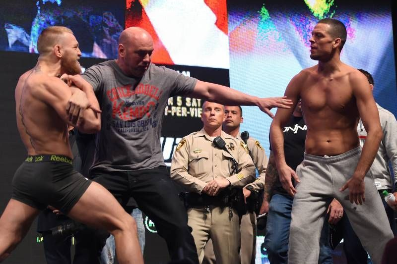 Conor McGregor and Nate Diaz at the face-offs