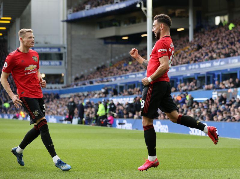 Macho man- Bruno Fernandes celebrates after scoring against Everton