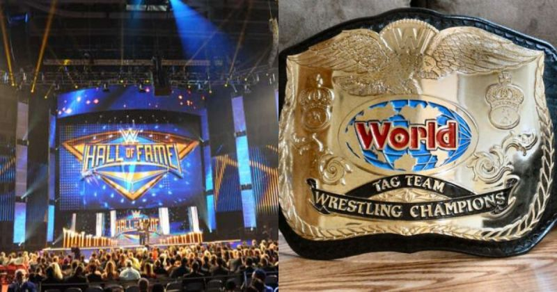 WWE Hall of Fame ceremony/ WWF Tag Team Championship belt
