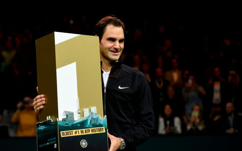 Federer being felicitated by the ATP