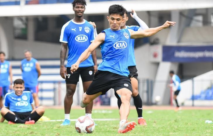 Sunil Chhetri in training before the big clash