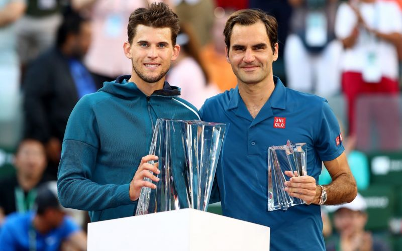 In 2019, Federer reached his 9th Indian Wells final where he lost to Thiem (left)