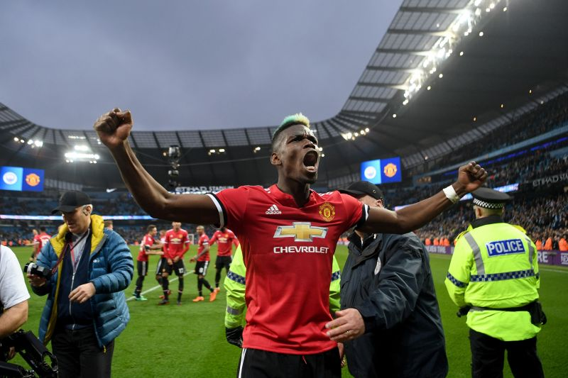 Paul Pogba scored two goals in the Manchester Derby