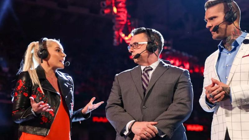 Renee Young with Michael Cole and Corey Graves