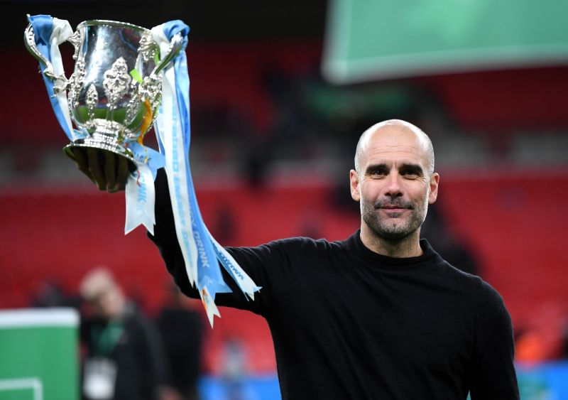 Pep Guardiola led his team to a third League Cup in succession on Sunday