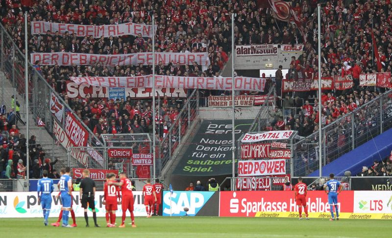 Offensive banners directed at Dietmar Hopp by Bayern fans