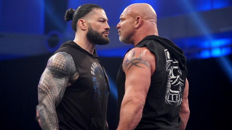 Goldberg and Roman Reigns had an intense staredown at the end of the episode!