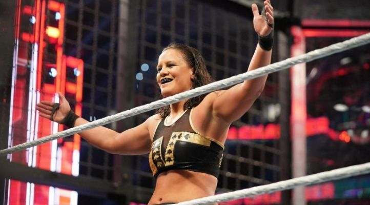 Shayna Baszler celebrating her dominant victory in the Elimination Chamber Match.