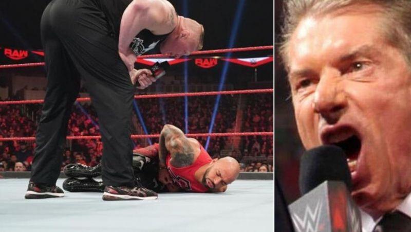 Brock Lesnar beating Ricochet/Vince McMahon