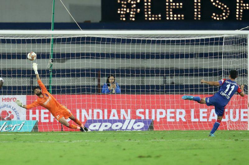 Sunil Chhetri scores against Odisha FC in their ISL clash