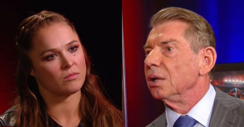 Ronda Rousey and Vince McMahon.