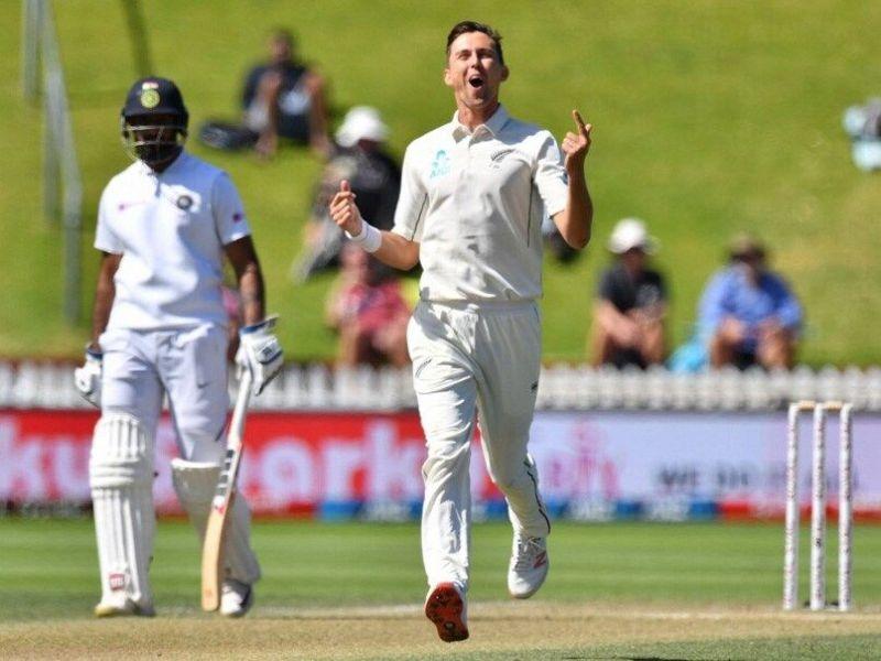 Trent Boult celebrates after breaching Cheteshwar Pujara