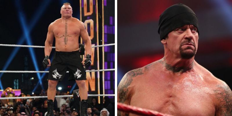 Brock Lesnar (left); The Undertaker (right)