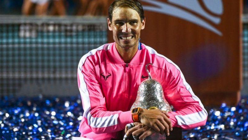 Rafael Nadal celebrates his third title triumph in Acapulco in 2020