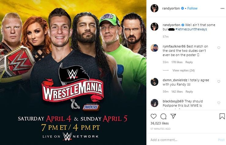 The poster that Randy Orton shared, plus his reaction to the same.