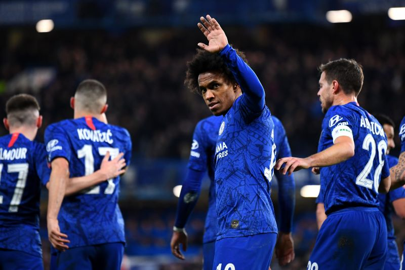 Willian acknowledges after netting the opener for Chelsea
