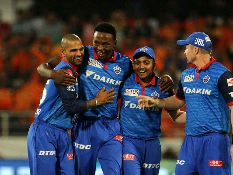 Rabada celebrates a wicket with his teammates