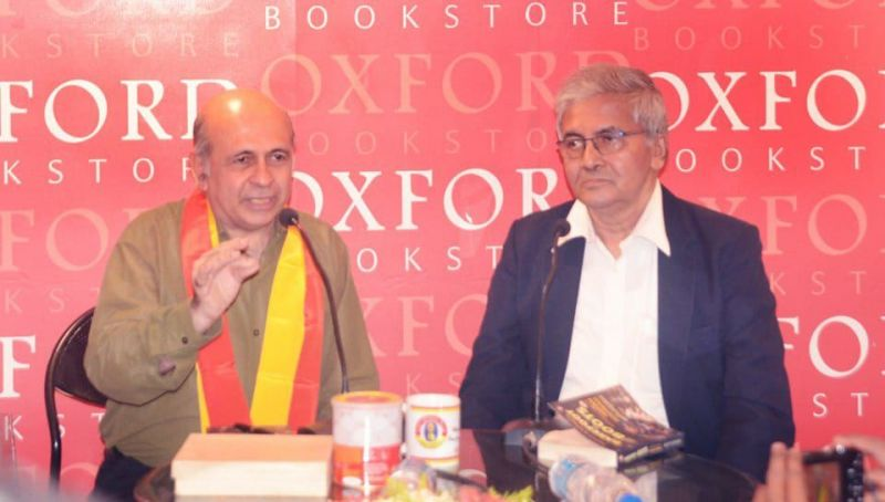 Novy Kapadia (L) at the launch of his book