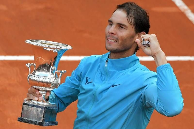 Nadal celebrates his 9th Rome Masters title in 2019.