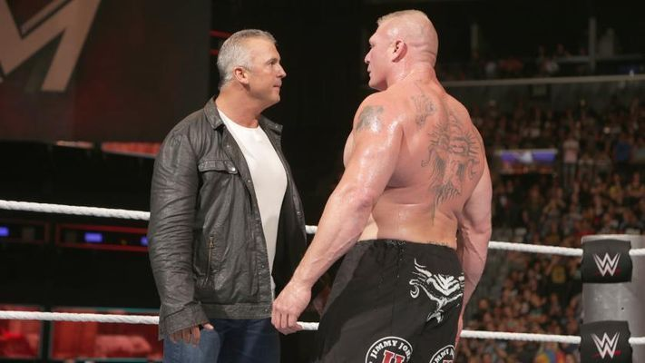 Shane McMahon had a heated conversation with Brock Lesnar at WM 34