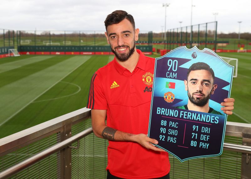 Bruno Fernandes is presented with the Premier League Player of the Month award for February