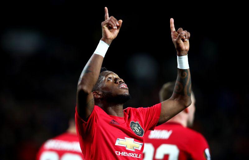 Heavens above!- Fred celebrates after scoring against Club Brugge